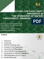 Regulations for Food -Part i by j Omojokun