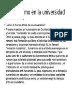 Humanismo en La Universidad