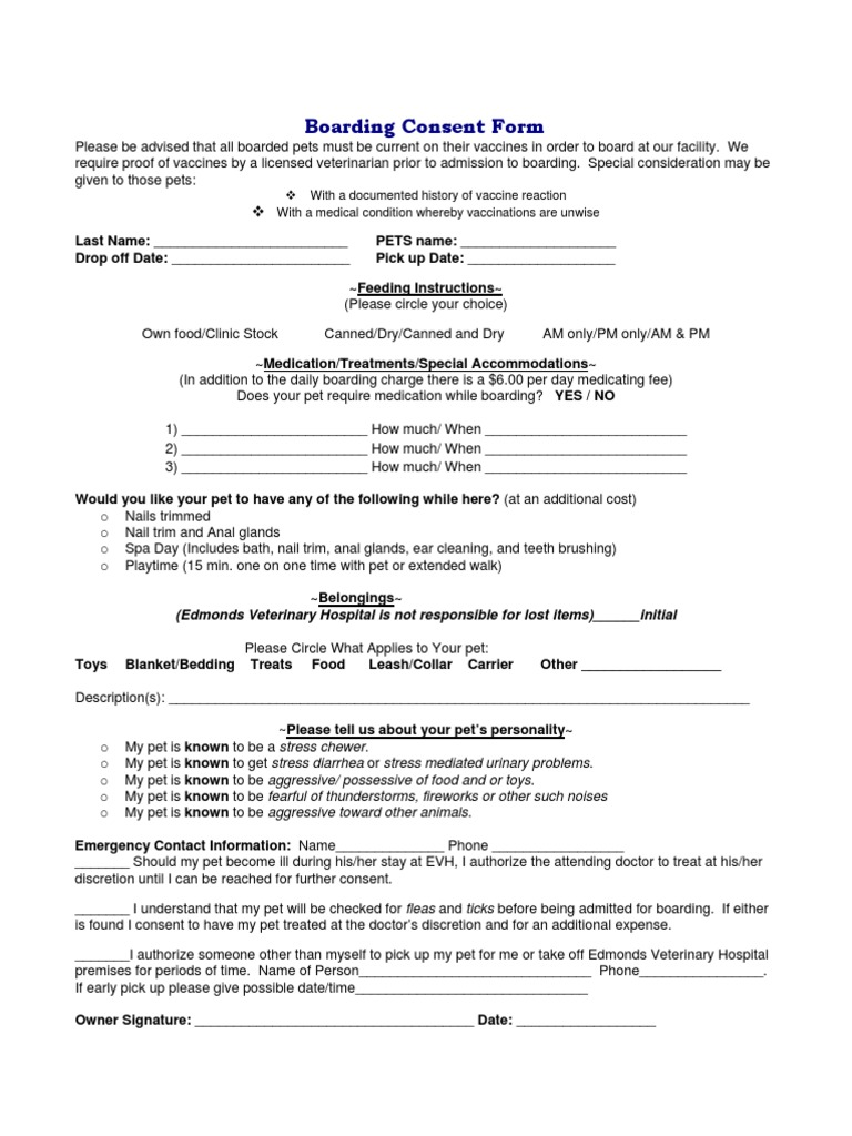 boarding consent form veterinary physician pet - Vaccine Consent Form
