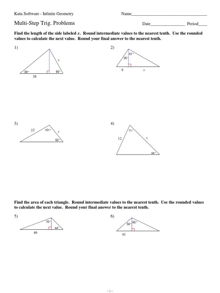 9 multi step trig problemspdf geometry space ccuart Gallery
