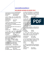 Questions on Current Affairs of August 2014