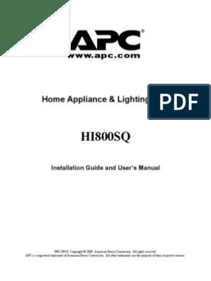 APC HI800SQ INstallationGuide & User's Manual | Electrical