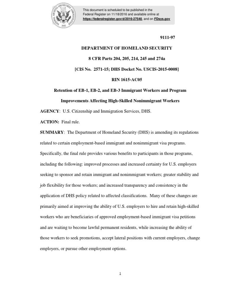 Ac 21 Final Regulation | H 1 B Visa | Permanent Residence (United