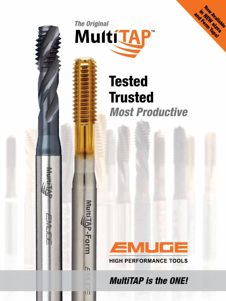 Emuge Tap BU5914105005 High Speed Steel TiN Finish 32 Pitch Right Hand Thread Forming 6