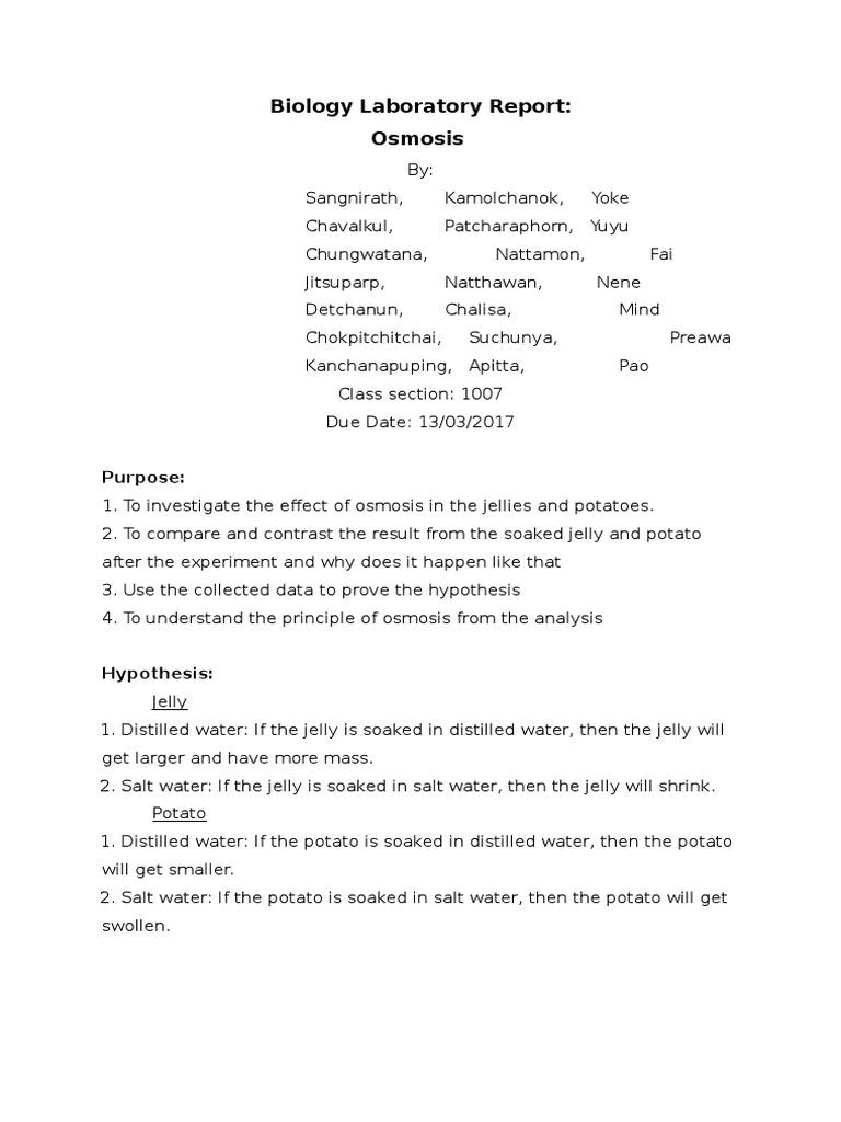 ️ Potato osmosis lab report conclusion. AP Biology Lab ...