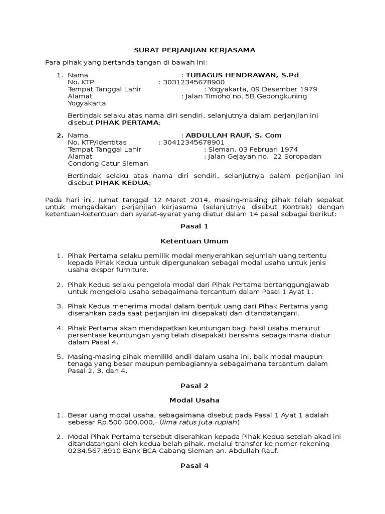 Contoh Format Surat Perjanjian Kontrak Kerjasamadocx