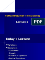 Lecture 5 Variables and Operators