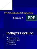 Lecture 4 Input Output