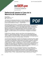 Reflexiones Desde La Casa de La Memoria de Huancavelica
