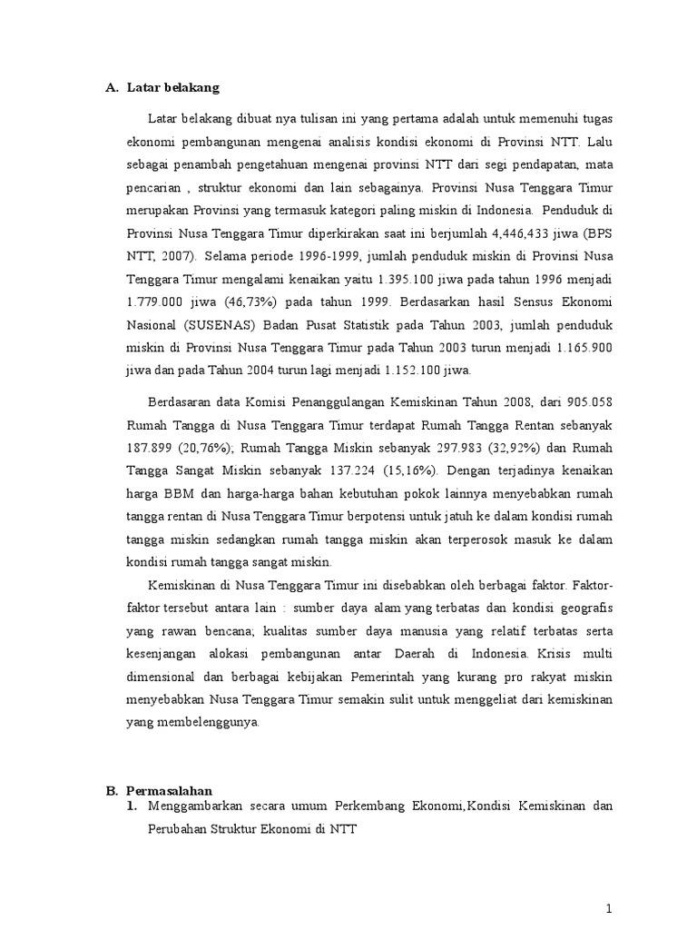 Ekonomi Pembangunan Analisis Provinsi Ntt