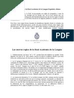 Las Nuevas Reglas de La Real Academia de La Lengua Española