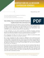 [Français] La Lettre sur la révision du Calendrier liturgique vincentien