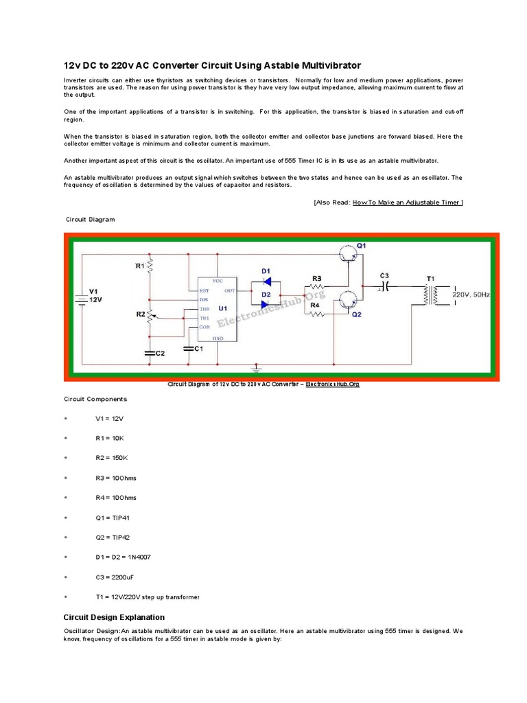 12v Dc To 220v Ac Converter Circuit Using Astable Multivibrator 555 Timer Mode Duty Cycle Capacitor Transistor