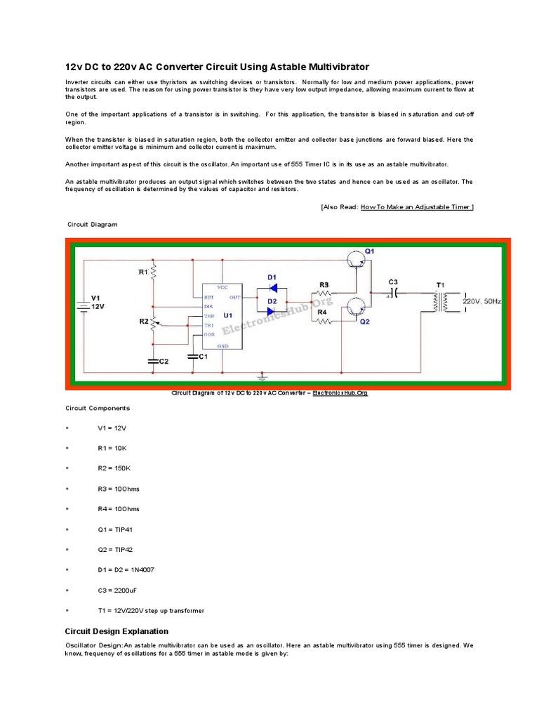 12v Dc To 220v Ac Converter Circuit Using Astable Multivibrator 555 Timer Monostable Diagram Capacitor Transistor