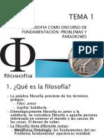 Tema 1. La Filosofia Como Discurso de Fundamentacion
