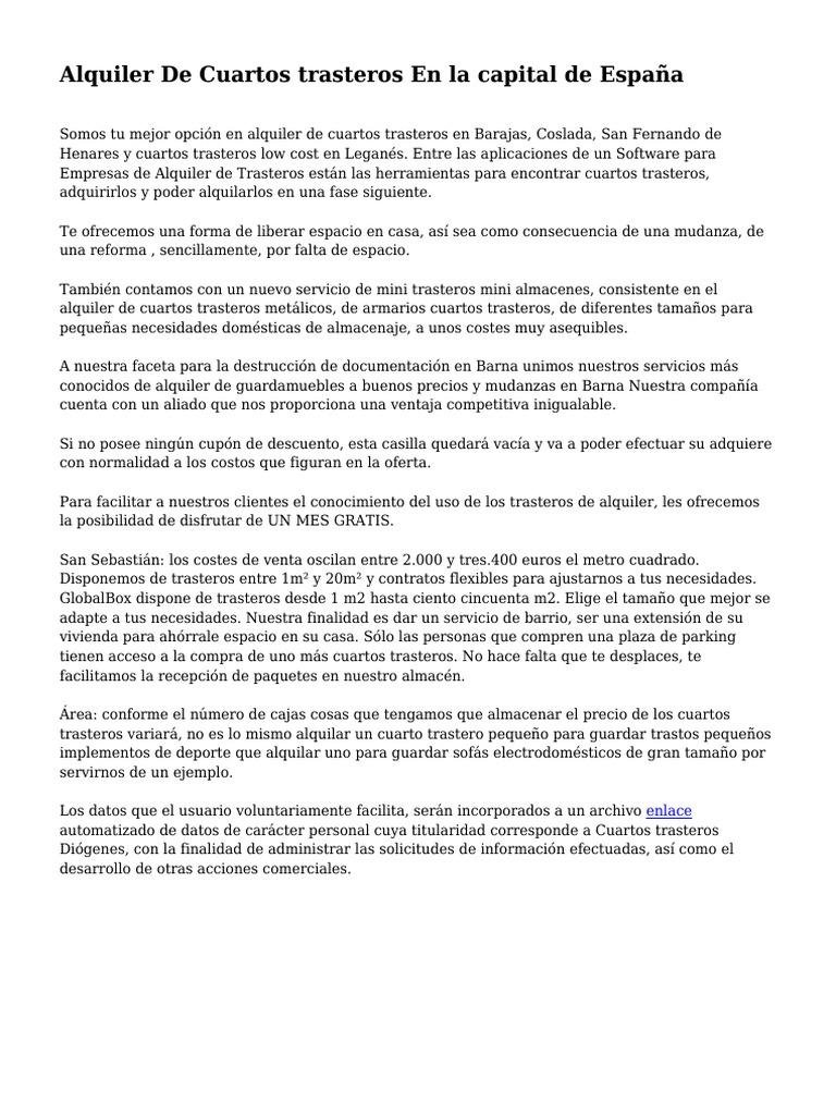 Alquiler De Cuartos trasteros En la capital de España ...