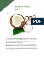 Cómo Hacer Crema de Coco Naturalmente