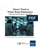 Draft recommendations from the Citizens Panel on Winter Road Maintenance