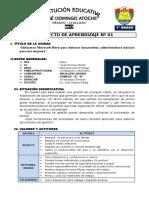 1° GRADO - PROYECTO DE APRENDIZAJE 01 - MICROSOFT WORD