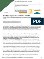 Brasil é o 4º País Em Casamento Infantil