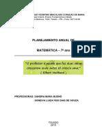 Planejamento Anual de. Matemática 7º Ano (1)