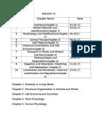 Biology Schedule