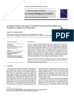 An Empirical Study on the Impact of Individual and Organizational Supply Chain Orientation on Supply Chain Management