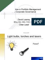 Workshop W3 - DLeaney - Best Practice in Portfolio Managemen