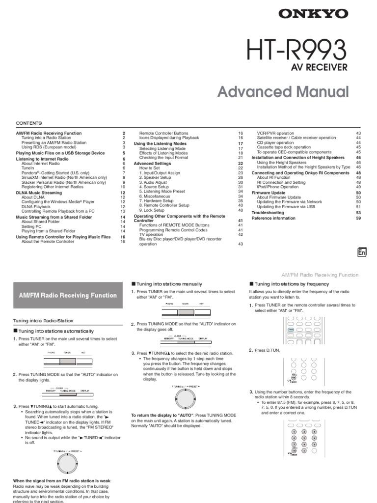 Manual_HT-R993_ADV_En pdf | Sound Technology | Audio Electronics