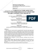 A STUDY OF VARIOUS FACTORS AFFECTING CONTRACTOR'S PERFORMANCE IN LOWEST BID AWARD CONSTRUCTION PROJECTS