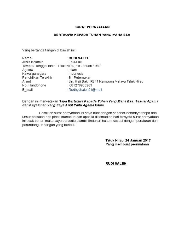 Surat Pernyataan Fix