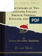 A Dictionary of Two Thousand Italian French German English and Other