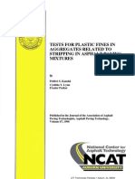 Tests for Plastic Fines in Aggregates Related to Stripping in Asphalt Paving Mixtures