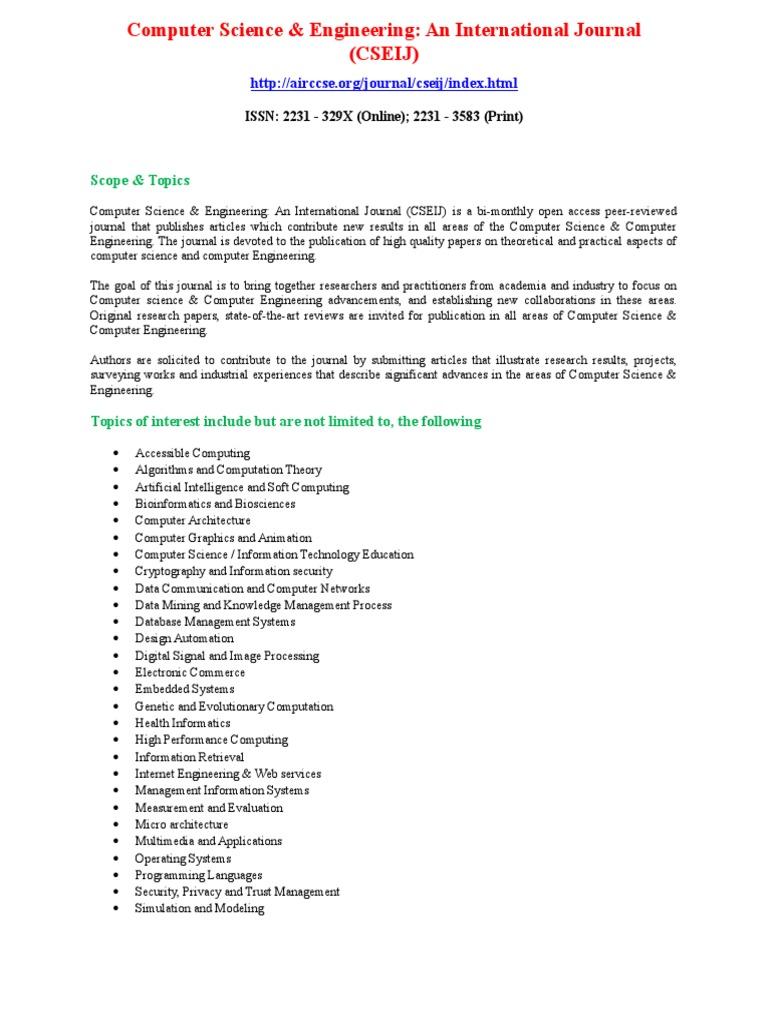 Computer science engineering an international journal cseij computer science intellectual works