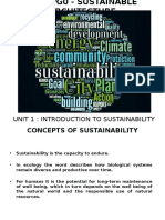 Unit 1 - Introduction to Sustainability