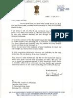 Ram Jethmalani's Letter to Justice CS Karnan
