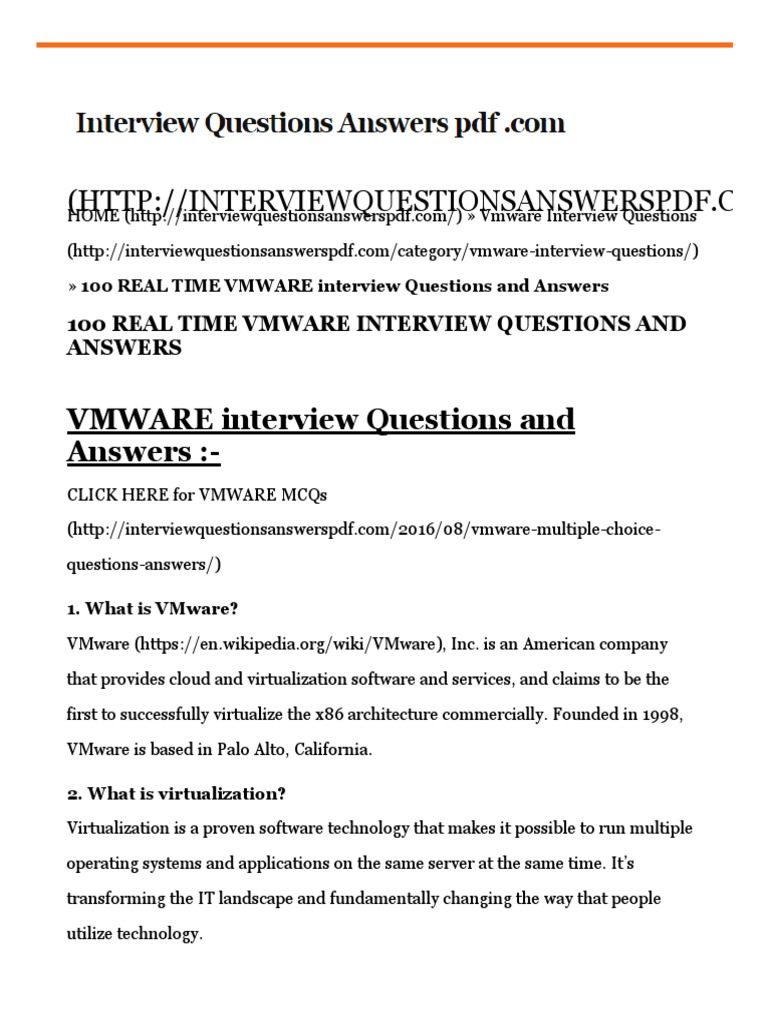100 REAL TIME VMWARE Interview Questions And Answers 2017 | Virtual Machine  | V Mware
