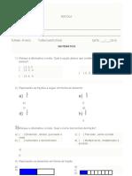 Avaliação de Matematica 4 Bimestre