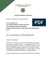 Disciplinario de Leonor Villamizar y Jose Guevara Panche vs Juez Prom Mpal Sasaima 20 Junio 2013