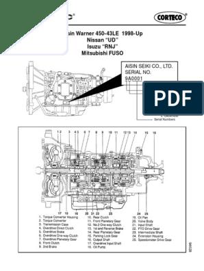 Aisin Warner 450-43LE 1998-Up -- Nissan UD -- Isuzu RNJ -- Mitsubishi FUSO  94628 Transmission | Valve | Transmission (Mechanics)Scribd