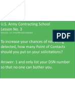 U.S. Army Contracting Lesson No. 3