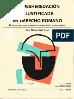[1998] La Desheredación Injustificada en Derecho Romano