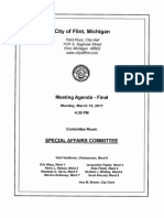 Flint City Council Special Affairs Agenda for March 13, 2017