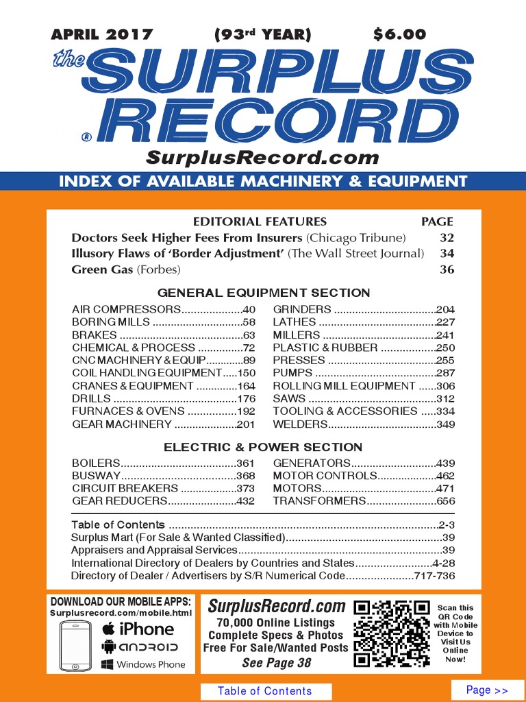 April 2017 surplus record machinery equipment directory fandeluxe Image collections