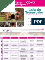 Lista de Temazcales reconocidos por la Sederec CDMX