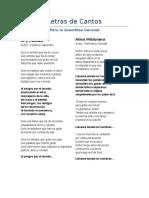 Letras de Cantos Jornada Decanal de Catequistas
