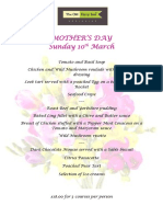 Mothers Day Menu Old Ferry Inn