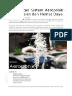 Pembuatan Sistem Aeroponik Yang Efisien Dan Hemat Daya