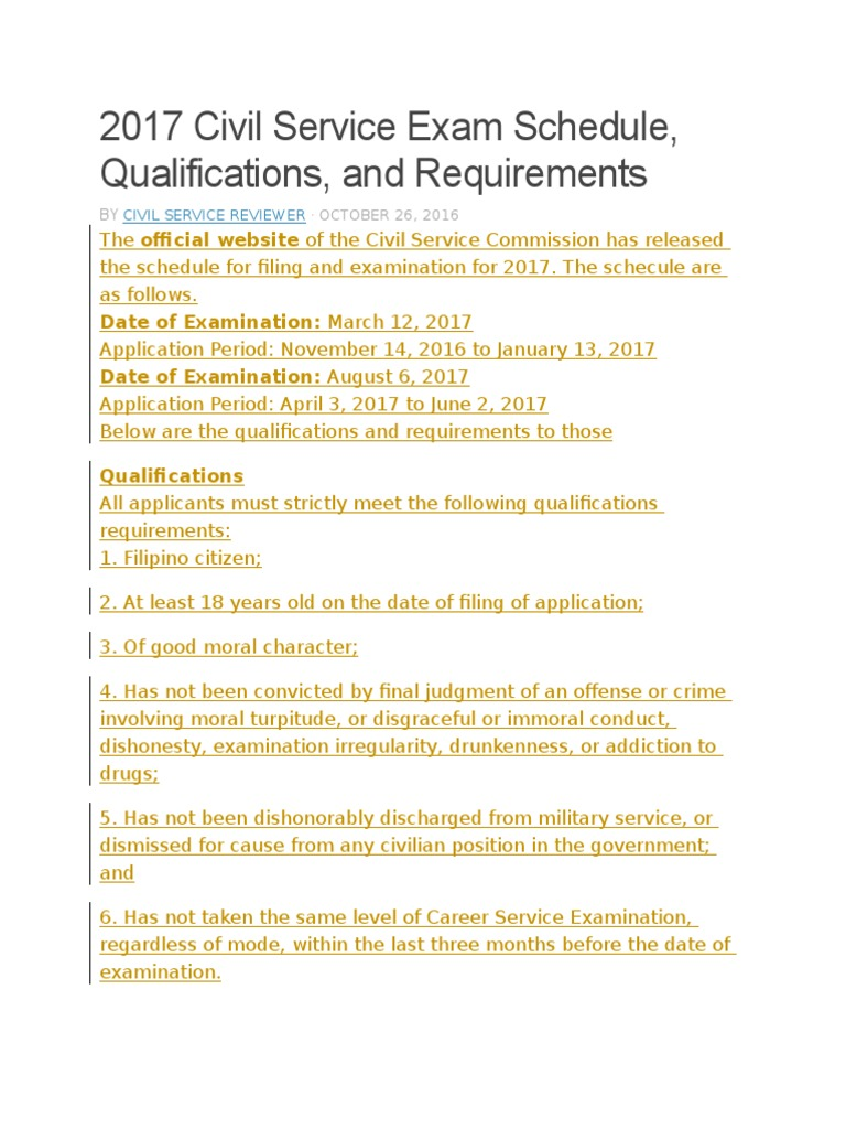2017 Civil Service Exam Schedule | Identity Document | Government  Information