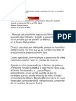 Mensaje de Andrés Manuel López Obrador presentación libro La mafia